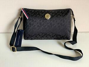 NEW! TOMMY HILFIGER BLACK CROSSBODY SLING MESSENGER BAG PURSE $79 SALE