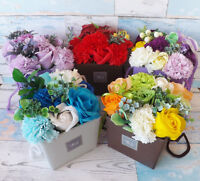 Luxury Handmade Soap Flower Bouquet Roses Carnations Gift Bag/Box Wedding Home