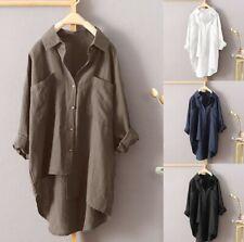 Women Long Sleeve Button Shirt Dress Blouse Asymmetry Baggy Tops plus size 10-24