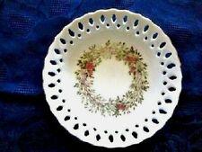Milk Glass Openwork Pierced Floral Wreath Design Happy Birthday Bowl Avon 1988