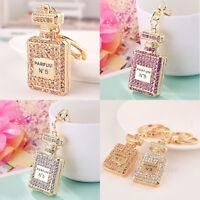 1*Pink Elegant Perfume Fragrance Bottle Crystal Keyring Pendant Keychain Stylish