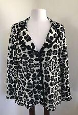 Exclusively Misook M Blazer Sweater Black White Leopard Print EUC