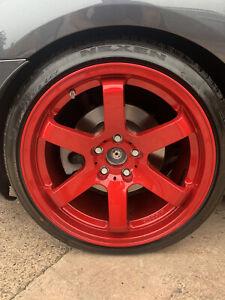 "18"" BOLA B1 ALLOY WHEELS FITS Mercedes SLK 5X112 CANDY RED"
