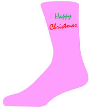 Red&Green Happy Christmas - Pink Christmas Novelty Socks Special Socks