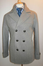 Nuevo Topman PEA Coat para Hombre XL gris lana mezcla abrigo chaqueta de doble abotonadura Hierba