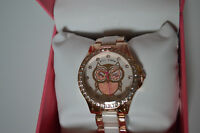 Betsey Johnson Women's Owl Blush and Rose Gold-Tone Bracelet Watch 40mm New