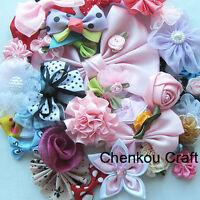 E188 50pcs Ribbon Bows Flowers Appliques Craft Lots Mix Wedding Decoration AM3