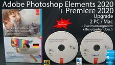 Adobe Photoshop Elements 2020 + Premiere 2020 AGGIORNAMENTO BOX + DVD 2 WIN/MAC NUOVO