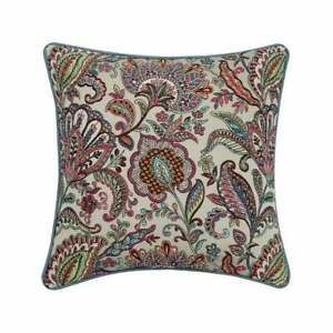 """Decorative 16""""x16"""" Embroidery Orange Pink Silk Pillow Cover - Garden Party"""