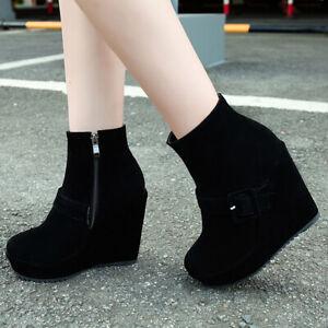 Women's Platform Winter Ankle Boots Zipper Wedge Heeled Booties Shoes US 6 Black