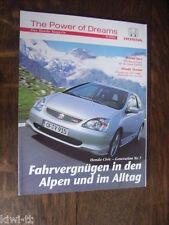 """Das Honda Magazin """"The power of Dreams"""" Hauszeitschrift 9/2001, D"""