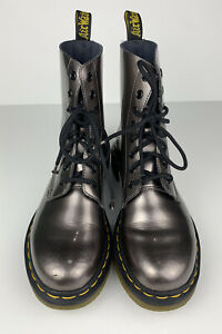 Dr. Martens Pascal Ankle Boot Pewter Patent Leather Women's Size US 8 UK 6