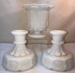 Vtg 3pc Westmoreland Centerpiece Vase PAIR Candlestick Milk Glass Grape PATTERN