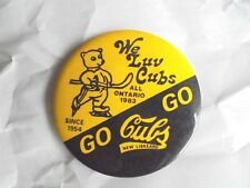 Vintage 1983 We Luv Cubs New Liskeard Canada Youth Midget Ice Hockey Pinback