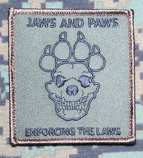 JAWS & PAWS ENFORCING THE LAWS K9 UNIT SWAT FOREST VELCRO® BRAND MORALE PATCH