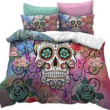 Feelyou Sugar Skull Duvet Cover Set King Size Skull Pattern Bedding Set Bones 2