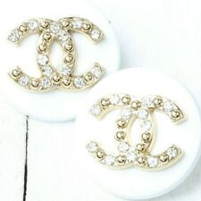 Chanel Button 2pc 20 mm CC White Vintage Style Unstamped 2 Buttons AUTH!!