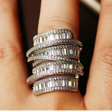 X-LARGE DIVA STATEMENT RING s9 18K WG-FILLED AAA CLEAR CZ LONG MULTI-ROW SHIELD