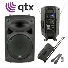QTX QR12PA Active Powered Portable PA USB Sound Speaker System + 2 Wireless Mics