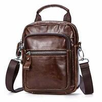 Men's Genuine Leather Messenger Bag Cowhide Business Shoulder Bag Crossbody Bag
