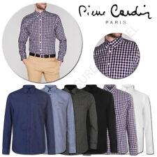 Mens Long Sleeve Shirts Pierre Cardin Top Check Stripe Plain Size M L XL XXL 2XL
