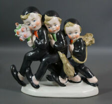 1920 Art Deco German Porcelain Figurine 3 Walking Chimney Sweepers Team Flowers