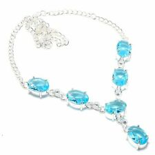 Swiss Blue Topaz Gemstone Handmade 925 Sterling Silver Jewelry Necklace 18""