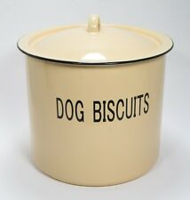 """Yellow Enameled Metal Dog Biscuit Canister 8"""" Dia x 8"""" Tall"""
