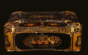 Boîte à thé laque de chine XIXème / china lacquer tea box, 19th century