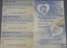 H.J. HEINZ BABY FOOD LABEL REDEEM BROCHURE W/ORD FORMS