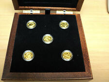 2013 O Canada 5 Coin 1/10 Oz Fine Gold Coins With Flock Lined Wooden Case