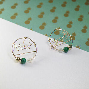 Custom Word Earrings in 14k Gold w. Peacock Stone, Moonstone, & 14k Gold Sphere