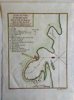 Port of Acapulco Coast harbor Chart City Plan Mexico New Spain 1754 Bellin map