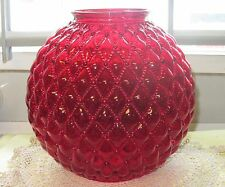 Vintage Fenton Ruby Red Glass Lamp Shade Globe Quilted Diamond GWTW shade