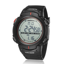Ohsen Mens Military Date Water Proof DIGIT Light Red Sport Quartz Wrist Watches