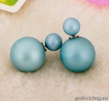 DOPPELPERLEN OHRRINGE blau-grau matt (Geschenk Perlen Ohrstecker) NEU