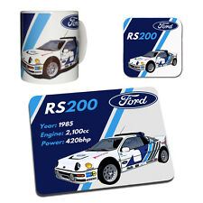 Ford RS200 Rally Car Gift Collection - Mug, Coaster & Mouse Mat