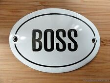 SMALL ANTIQUE STYLE ENAMEL BOSS DOOR SIGN WALL PLAQUE