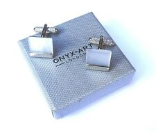 "CUFF LINKS-WHITE ""CATS EYE"" 15mm METAL SQUARE with SILVER TRIM in a GIFT BOX-NEW"