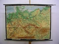 Wandkarte RollkarteDeutschland 1937erGrenze BRDDR+Ostgebiete 128x89 1962 vintage