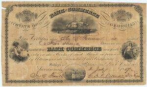 1857 $100 Shares Capital Stock Certificate Bank of Commerce Savannah Georgia GA