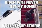 """Anti Biden Bumper Sticker - Never get my guns, they are upstairs 6"""" x 4"""" Sticker"""