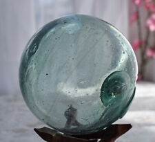 Vtg Japanese Glass Fishing Float, Swirl, Repair Seal, Inclusion
