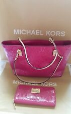 $426 Michael Kors Deep Pink Jet Set Chain Leather Shoulder Bag Tote/Pink Wallet