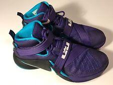 """Nike Air Lebron Soldier IX 9 """"Hornets"""" (749417-510) Black Purple Men Shoes 10.5"""