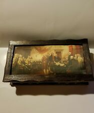 Vintage Wooden Jewelry Box Padded Top Declaration of Independence Print