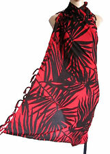 Black/grey PALM LEAF beach wrap, scarf, sarong/pareo swimwear cover up SUMMER