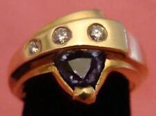Vintage 14 Karat Tanzanite Diamond Ring Unique Deco Ring Solid 14 Karat Gold