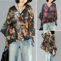 ZANZEA 8-24 Women Flare Sleeve Pullover Top Tee T Shirt Printed Floral Blouse