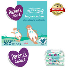 Parent's Choice Fragrance Free Baby Wipes, 3 Flip-Top Packs 240ct & 500 ct